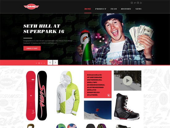 SIMS Snowboards Site